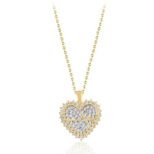 Sarı Altın Taşlı Kalpli Tasarım Kolye