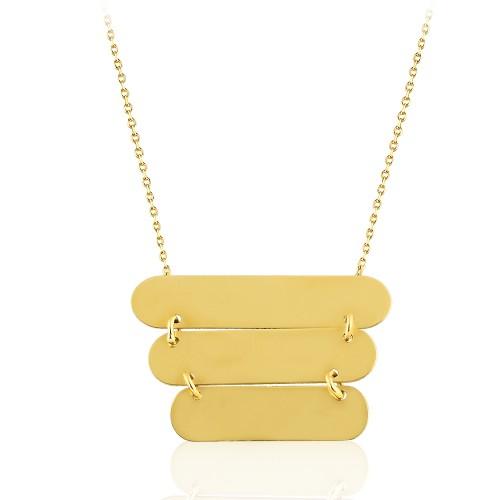 Sarı Altın Üçlü İsimli Tasarım Kolye