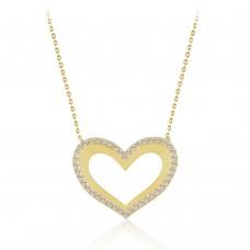 Sarı Altın Taşlı Kalp Tasarım Kolye